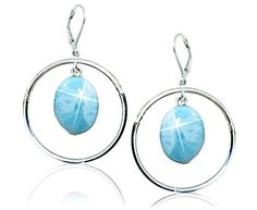 Sterling Silver Drop Earrings with Oval Larimar Stones (BTS-NEA3062/LR/R) -- Read more reviews of the product by visiting the link on the image.