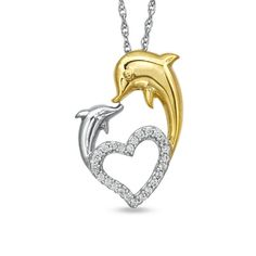 Zales: 1/8 CT. T.W. Diamond Kissing Dolphins Heart Pendant in Sterling Silver with 14K Gold Plate