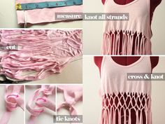 DIY Macrame Tank Top | DIY Easy No Sew Top for Teens by DIY Ready at diyready.com/diy-clothes-sewing-blouses-tutorial/