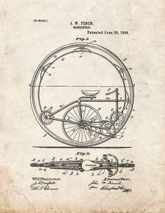 Monocycle Patent Print Art Poster Old Look (8.5' x 11')