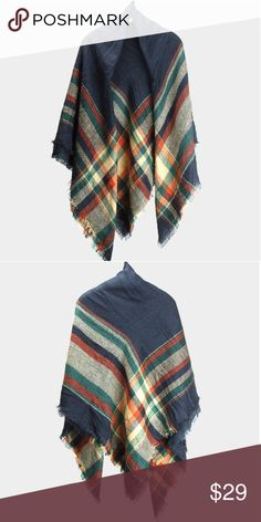 "Plaid Check Square Blanket Scarf - Navy & Orange Acrylic. 60""W, 60""L. Green, Navy Blue, Burnt Orange Accessories Scarves & Wraps"
