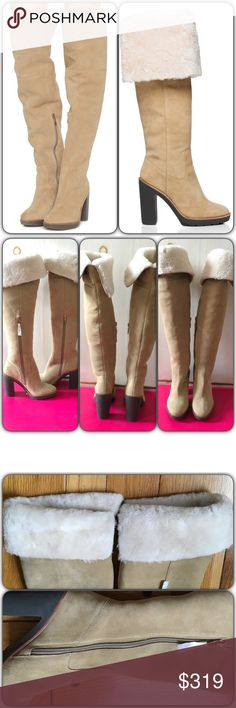 """Kate Spade Gabry Over The Knee Suede Boots NIB, a knee-high suede boot lined in shearling and boasting a solid, rubber, chunky heel. Can wear over the knee or fold down to below knee length. Color is natural. Heel height is about 4"""". Half side zipper closure, almond toe design. Comes with box which is not in perfect shape. Please note bottom left pic in 4th pic shows 2 very small darker discolorations in the area of tops of feet. Sold out on website. kate spade Shoes Over the Knee Boots"""