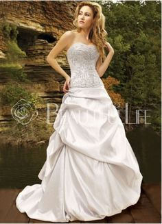 $432.99 Taffeta #Ball Gown Strapless Sweep Train Bridal #Dress With Beading Embroidery– Discount #Ball #Gown #Wedding #Dresses