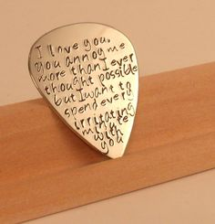 Love quotes Guitar Pick-Perfect Gift for a Grooms Wedding gift-husband-boyfriend-bridesmaid. $18.00, via Etsy.