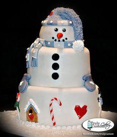 snowman cake - by TrulyCustom @ CakesDecor.com - cake decorating website