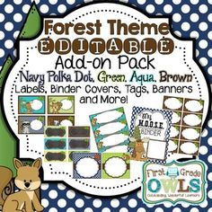 Labels, Banners, Binder Covers, Tags, and more! This product correlates with my Forest Theme Decor Pack (Orange and Purple) but allows you to edit and create your own covers, labels and banners. Just type your text and choose whatever font, color and sizing to make it just right for you!Please check out the preview file to see EVERYTHING that's included!See my Forest Theme Decor Pack Navy Polka Dot