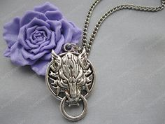 antique silver wolf necklace