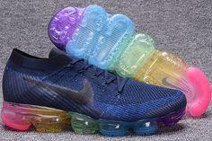 4f013c77e5f Cheap Men Women Nike Air VaporMax Flyknit Running Shoes Rainbow blue 849558  400 For Sale