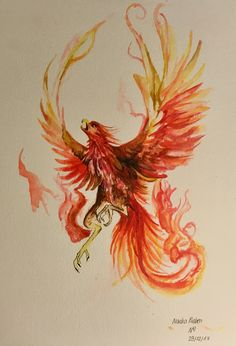 : Phoenix (copy of a work) Watercolor January 2018 . - : Phoenix (copy of a work) watercolor January 2018 …. Baby Feet Tattoos, Daddy Tattoos, Small Tattoos, Tattoo Calf, Tattoo Line, Phoenix Artwork, Phoenix Images, Phoenix Bird Tattoos, Phoenix Tattoo Design