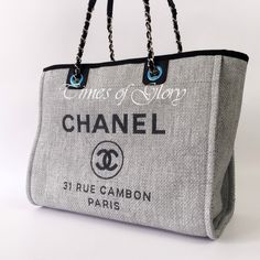 NEW 2016 Chanel Deauville Grey Canvas Black Trim Grand Shopper Large Tote Bag | Clothes, Shoes & Accessories, Women's Handbags | eBay!