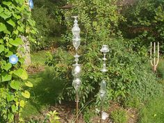 Glass Totems In The Garden