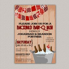 backyard babyq bash couples bbq baby shower invitation barbecue invite baby shower invite grill out diy printable shower invitation