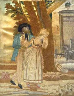 """A Regency needlework silk picture- """"The Sailor's Farewell"""", depicting a Tar leaving a weeping woman in front of a domestic setting with stumpwork trees.  From Jane Austen Centre, Bath."""