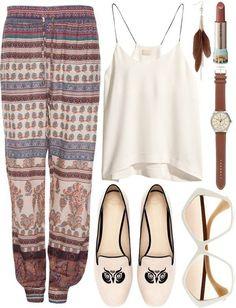 Pants: boho, boho pants, bohemian, bohemian style, loose, ethnic, shirt, pattern, patterns - Wheretoget
