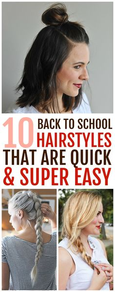 10 quick and easy back to school hairstyles for high school teens and college students. You'll find many different ideas for short, medium, and long hair. Click pin for hair tutorials! #hotbeautyhealth #backtoschoolhair #hairtutorials #hairstyles #easyhairstyles