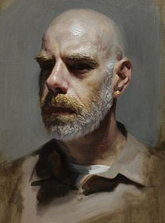 Louis Smith {figurative impressionist art male head bearded man face portrait painting} louissmithart.com