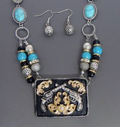 COWGIRL Bling Western Turquoise PISTOL Silver Gold Gun Six Shooter Necklace set our prices are WAY BELOW RETAIL! all JEWELRY SHIPS FREE! www.baharanchwesternwear.com baha ranch western wear ebay seller id soloedition