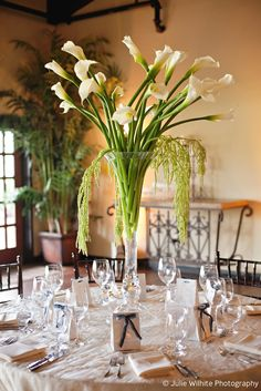 Wedding Coordinated by Lauren Carrillo of Something to Celebrate. Flowers by Blooming Gallery. Photography by Julie Wilhite Photography. Calla Lily Centerpieces, Wedding Centerpieces, Wedding Bouquets, Wedding Flowers, Wedding Decorations, Table Decorations, Hurricane Centerpiece, Bridal Show, Event Planning