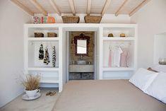 dormitorio paredes de yeso, materiales naturales