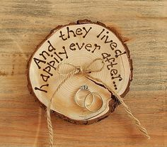 two signs, one for each dog... and they lived...happily ever after RUSTIC ring bearer pillow  Romantic country Wedding decoration.