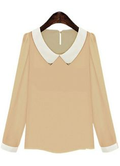 For impression & would have to be silk. ALady. Pink Contrast Lapel Long Sleeve Chiffon Blouse US$25.83