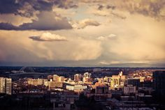 3 canvas piece  Sunset over the Portland skyline by LysBleuDesigns, $280.00