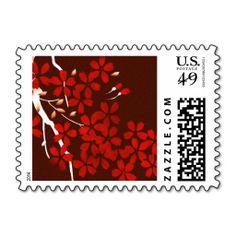 Cherry Blossom Branch Red Postage Stamp