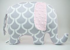 Modern gray and pink nursery decor, Elephant Pillow toy, grey and pink on Etsy, $33.00