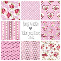 Tanya Whelan Valentine Rose Fabric Bundle - Pinks