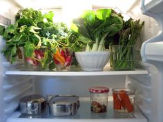 Keep greens and root veggies fresh longer by submersing them in water in the fridge. You'll get many more days out of them this way.