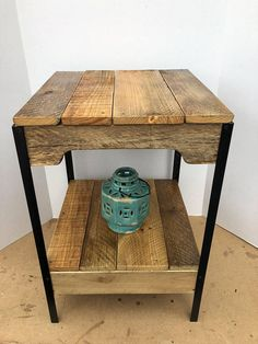 My Pallet wood and Steel side table is made with reclaimed pallet wood, the angle iron is reclaimed when available. I strive to keep all the original character of the pallets, (nails, cracks, and minor warping) while providing a sturdy table. The standard table size is 16X15X24