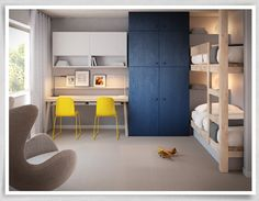 i like the dark closet against the light wood. bunk beds and desk in children's room. Mona Vale Apartment | Cher Geometry