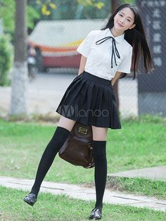 Color Block Bow Trendy école tissu Costume uniforme