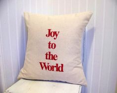 joy to the world pillow - embroidered Christmas pillow - decoration - red - linen