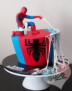 Spiderman cake with edible webbing  Melbourne, Australia - Cake Artist www.slicecakes.com