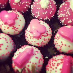 cake balls! Baby mama loves cake balls on her shower day! www.cakeballers.com #thecakeballers #cakeballs #cakeballer #cakeballers #babyshower #baby #itsagirl #idahohasfun #love #pink #hearts #bottles #baller #bakingahuman #letthemeatcake #cake #socute