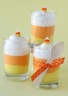 Candy Corn Cheesecake Mousse- cute and yummy looking!