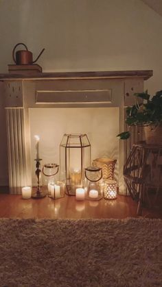 Cozy Antique Fireplace Mantel Candles make a great supplement when you don't have a real fireplace in your home. Antique Fireplace Mantels, Candles In Fireplace, Fake Fireplace, Fireplace Mantle, Fireplace Design, Fireplace Ideas, Antique Mantel, Fireplace Candle Holder, House Candles