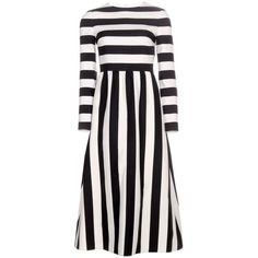 Valentino Striped Wool and Silk-Blend Dress ($2,880) ❤ liked on Polyvore featuring dresses, valentino, vestidos, black, wool dress, black dress, black wool dress, stripe dress and woolen dress
