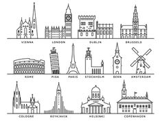 European cities landmarks cities european icon landmarks european summer is calling pair it with our french linen ruby shirt in wildflower pink for the ultimate look Europe On A Budget, Budget Travel, Line Art, Europe Wallpaper, Europe Street, Building Illustration, City Illustration, City Drawing, City Icon
