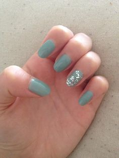 Avon mint green with no7 glitter on ring finger