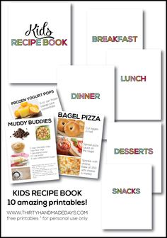 make a kids recipe book for your family with pictures and text to help all kids cook in the kitchen (10 free printables)