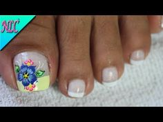 YouTube Toe Nail Flower Designs, Cute Pedicure Designs, Colorful Nail Designs, New Nail Art Design, Nail Art Designs, French Nails, Summer Toe Designs, Cute Pedicures, Magic Nails