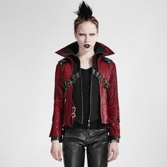Gothic Vintage Women Stand Collar Short Leather Coats Autumn Winter Red Black Sp