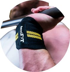 "TerriFIT Heavy Duty Lifting Wrist Wraps w//Thumb Loop 18"" Long Yellow//Black"