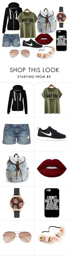 """Untitled #1"" by kayley2103 ❤ liked on Polyvore featuring Current/Elliott, NIKE, Aéropostale, Lime Crime, Olivia Burton and H&M"
