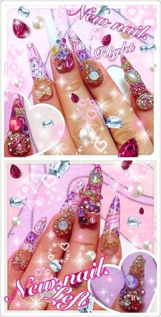 Pink purple jewels diamante rhinestone ma*rs bling japanese nail art gyaru by @minamelo1224 (IG)