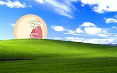Not sure if anyone has done this yet, but I put the screaming sun over the Windows XP default wallpaper Rick and Morty Screaming Sun + WIndows XP Wallpaper Wallpaper Gallery, Wallpaper Pc, Wallpaper Backgrounds, Funny Computer Wallpaper, Rick And Morty, Meme Background, Rick Y, Macbook Wallpaper, Funny Wallpapers