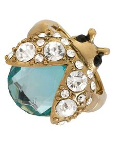 Betsey Johnson Ring, Gold-Tone Glass Crystal Ladybug Stretch Ring - Fashion Jewelry - Jewelry & Watches - Macy's
