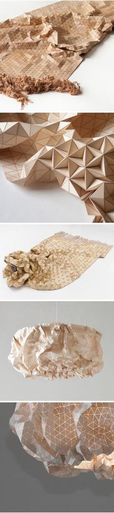 Crazy cool wooden fabric by German artist Elisa Strozyk.